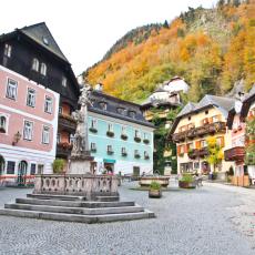 Hallstatt town square in Autumn